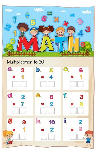 Hoja de trabajo de matemática número de multiplicación capítulo ...