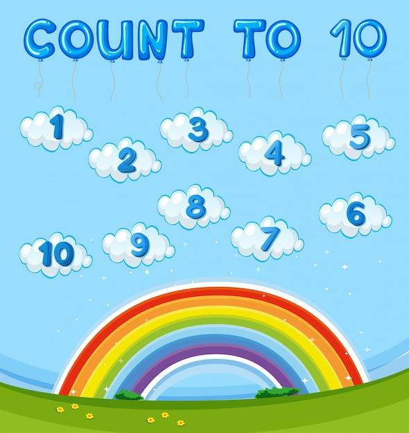 Hoja de trabajo de matemáticas con contar hasta diez con arco iris ...