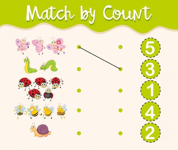 Hoja de trabajo de matemáticas con insectos y números | Descargar ...