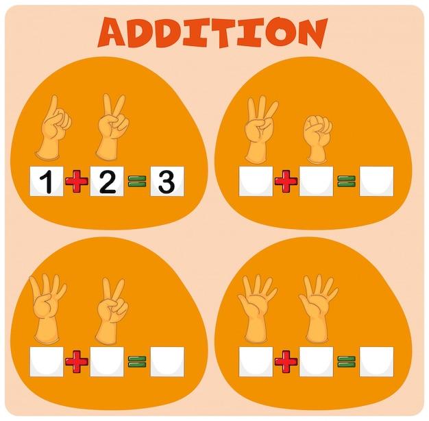 Hoja de trabajo de matemáticas con la adición de los dedos ...