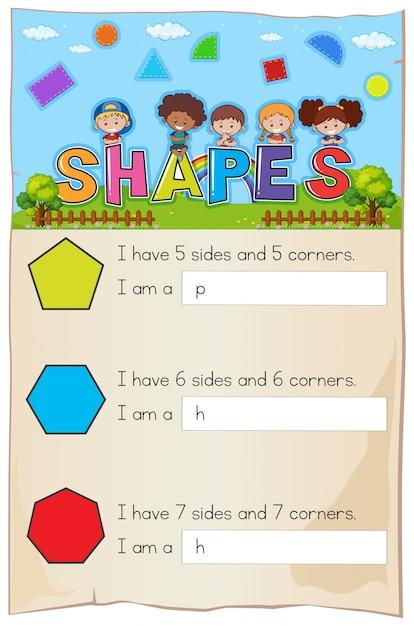 Hoja de trabajo de matemáticas para diferentes formas | Descargar ...