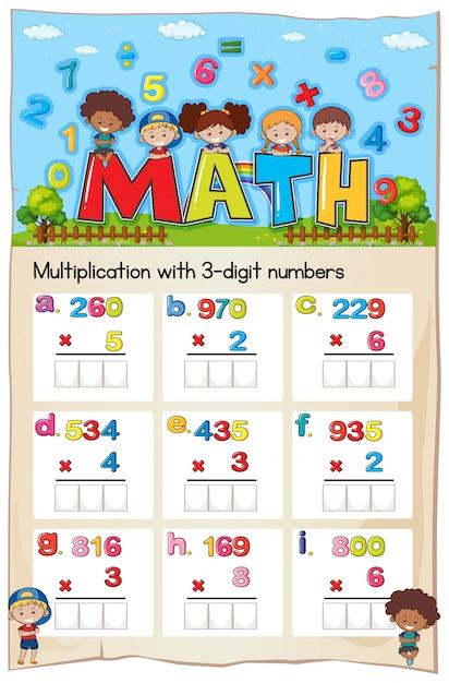 Hoja de trabajo de matemáticas para la multiplicación con números de ...