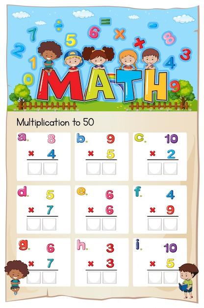 Hoja de trabajo de multiplicación de matemáticas para estudiantes ...