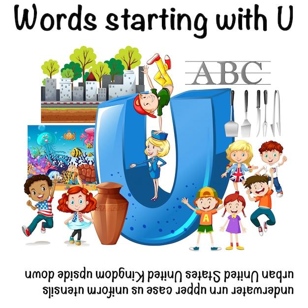 Hoja de trabajo en inglés de las palabras que comienzan con u ...
