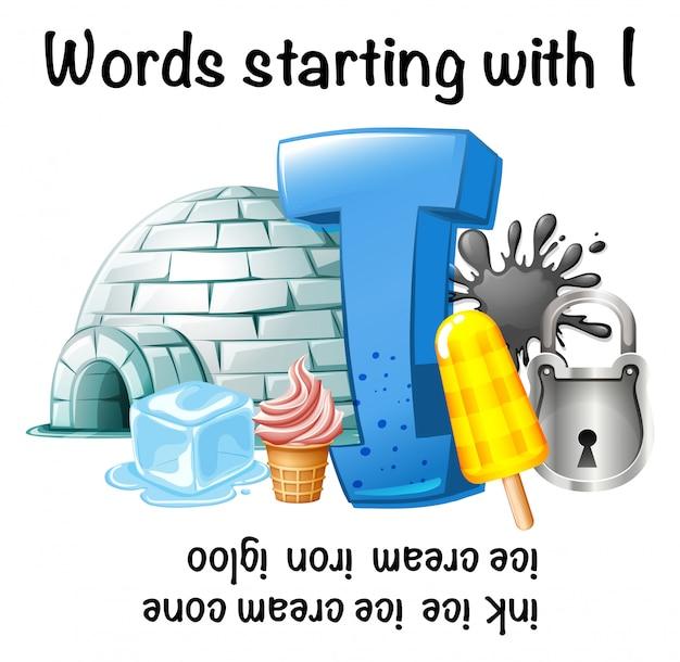 Hoja de trabajo en inglés de palabras que comienzan con i ...