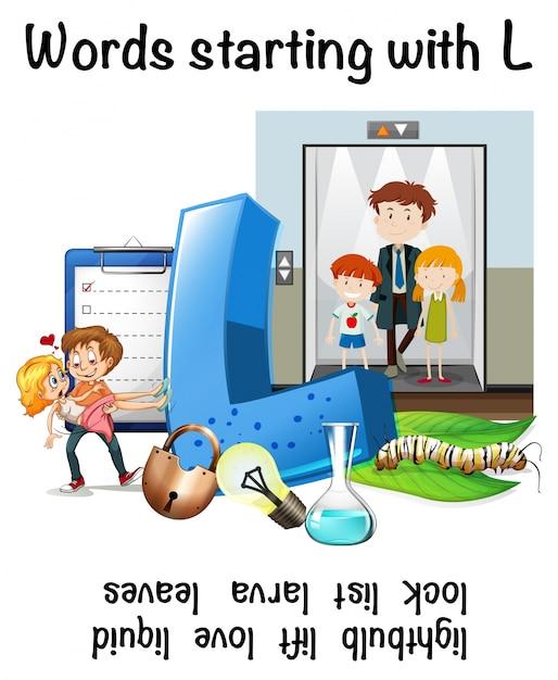 Hoja de trabajo en inglés de palabras que comienzan con l ...