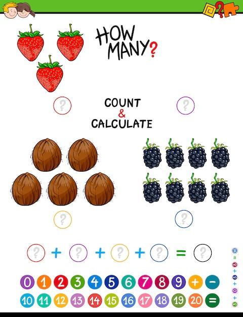 Hoja de trabajo matemática educativa | Descargar Vectores Premium
