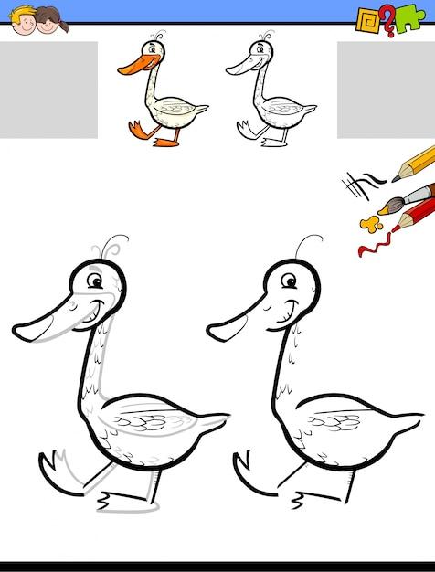 Hoja de trabajo para dibujar y colorear con ganso | Descargar ...