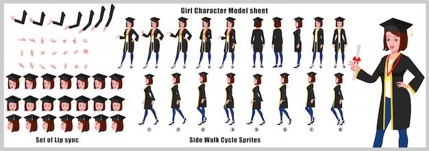 Hoja de modelo del personaje de graduate girl con animaciones de ciclo de caminata y sincronización de labios Vector Premium