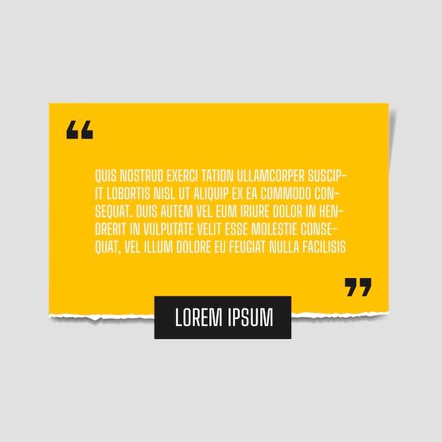 Hoja de papel con una cita de papel amarillo intenso adjunta a la pared blanca Vector Premium