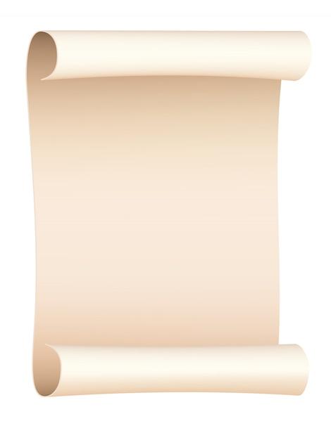 Hoja de papel viejo enrollada aislada. ilustracion vectorial Vector Premium