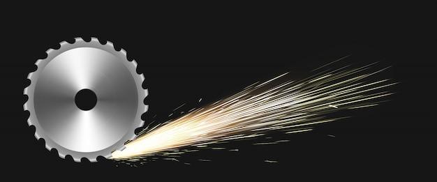 Hoja de sierra circular giratoria con chispas de fuego vector gratuito