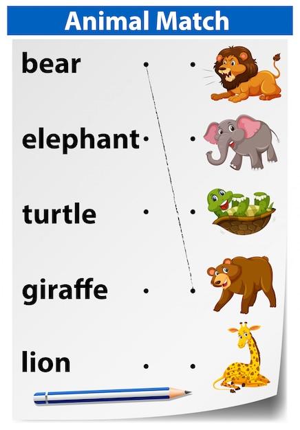 Una hoja de trabajo de coincidencia de animales | Descargar Vectores ...