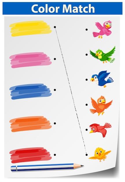 Una hoja de trabajo de coincidencia de colores | Descargar Vectores ...