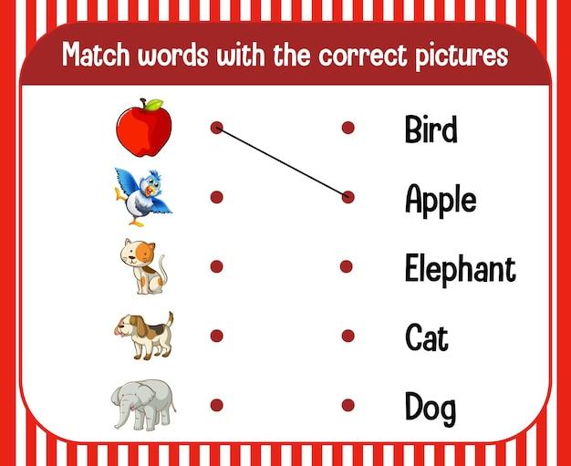Hoja de trabajo de coincidencia de palabra a imagen para niños vector gratuito