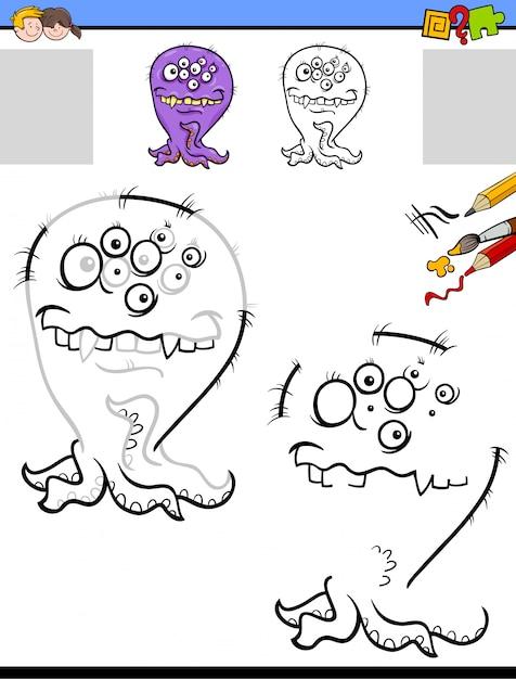 Hoja de trabajo para dibujar y colorear con monstruo divertido ...