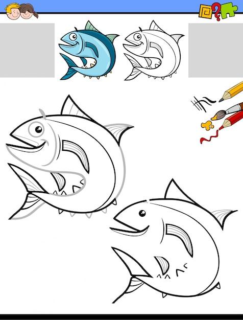 Hoja de trabajo para dibujar y colorear con peces | Descargar ...