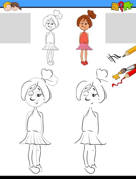 Hoja de trabajo para dibujar y colorear | Descargar Vectores Premium