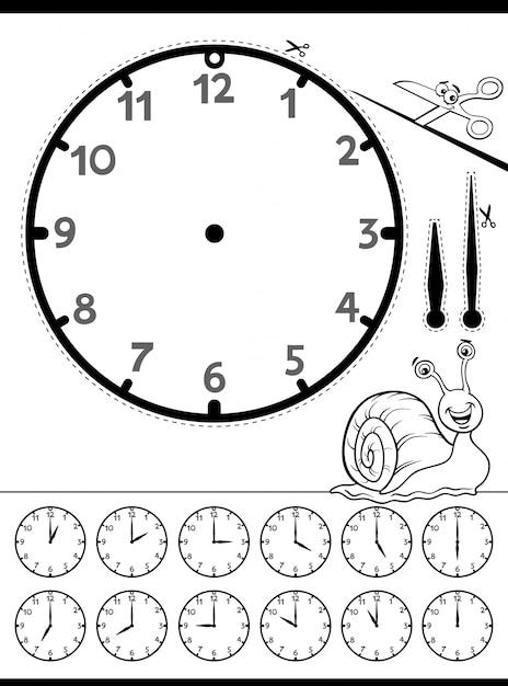 Hoja de trabajo educativa cara reloj para niños | Descargar Vectores ...