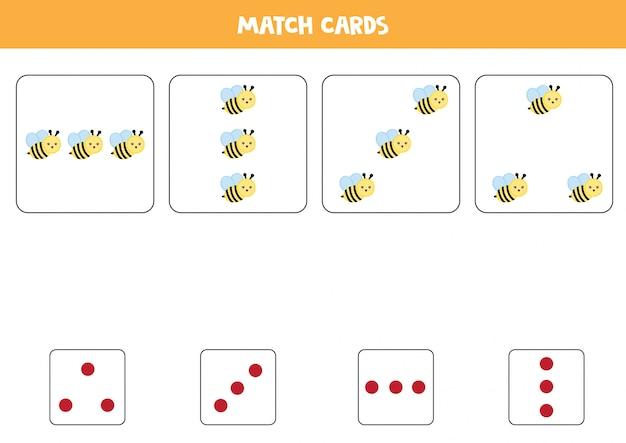 Hoja de trabajo educativo para niños en edad preescolar. haga coincidir las tarjetas con puntos y abejas por cantidad. Vector Premium