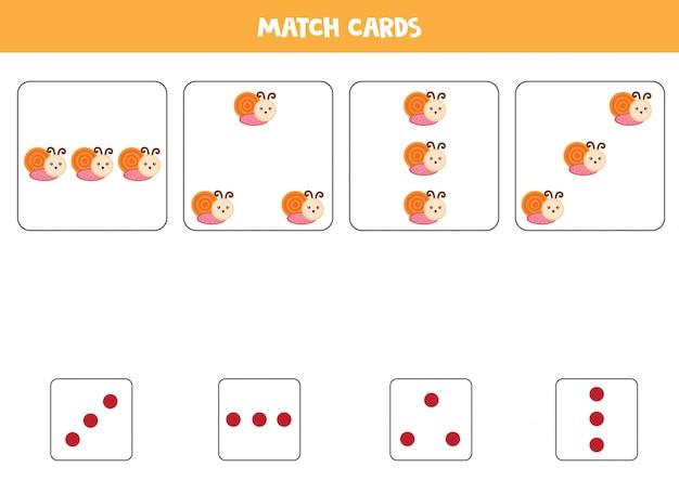 Hoja de trabajo educativo para niños en edad preescolar. haga coincidir las tarjetas con puntos y caracoles por cantidad. Vector Premium