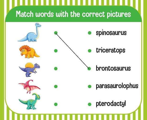 Hoja de trabajo que empareja palabra con imagen tema de dinosaurio vector gratuito