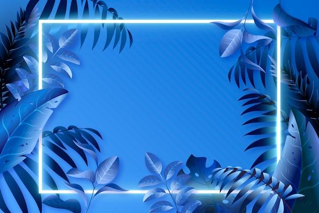 Hojas azules realistas con marco de neón vector gratuito