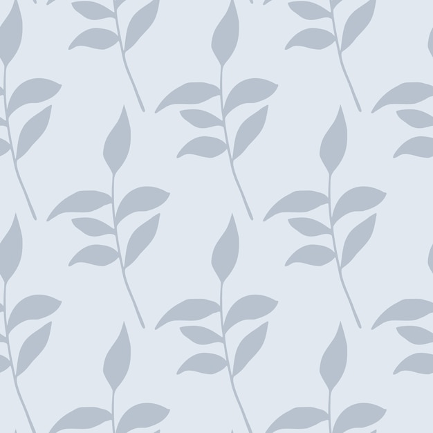 Hojas de color azul claro ramas siluetas de patrones sin fisuras. arte de paleta suave pastel de follaje. telón de fondo floral. impresión creativa para papel tapiz, textil, papel de regalo, estampado de tela. ilustración. Vector Premium