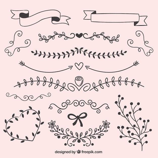 Hojas dibujadas a mano adornos descargar vectores premium for Decoracion de paginas