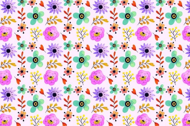 Hojas exóticas y flores ditsy sin fisuras de fondo vector gratuito