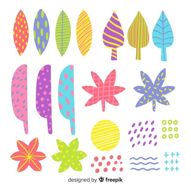 Hojas y flores abstractas dibujadas a mano vector gratuito