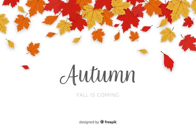 Hojas de otoño diseño plano de fondo vector gratuito