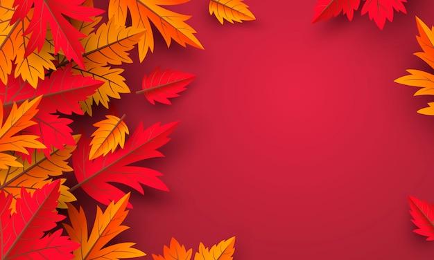 Hojas de otoño fondo rojo con espacio de copia Vector Premium