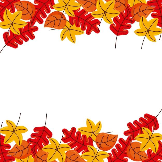 Hojas de oto o marco floral borde amarillo naranja - Descargar autumn leaves ...