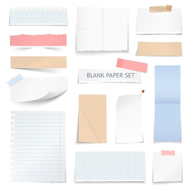 Hojas de papel en blanco tiras de colección realista vector gratuito