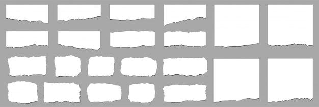 Hojas de papel rasgadas. tiras de papel rasgadas. vector Vector Premium