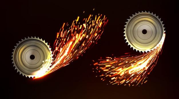 Hojas de sierra circular con chispas, fuego de trabajo de metal vector gratuito
