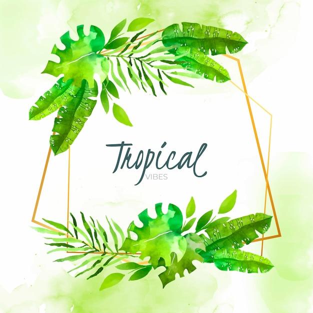Hojas tropicales acuarelas con marco dorado vector gratuito
