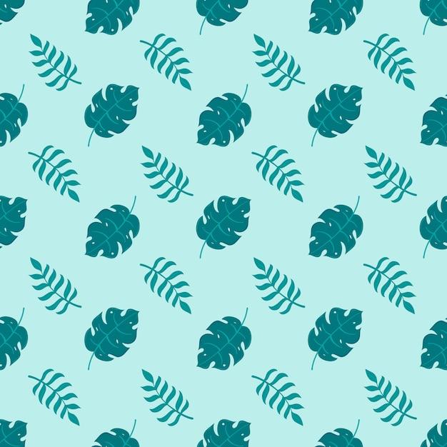 Hojas tropicales sin costura verde, plantilla de patrón de hojas para textil Vector Premium