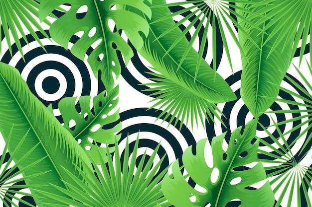 Hojas tropicales con fondo geométrico vector gratuito