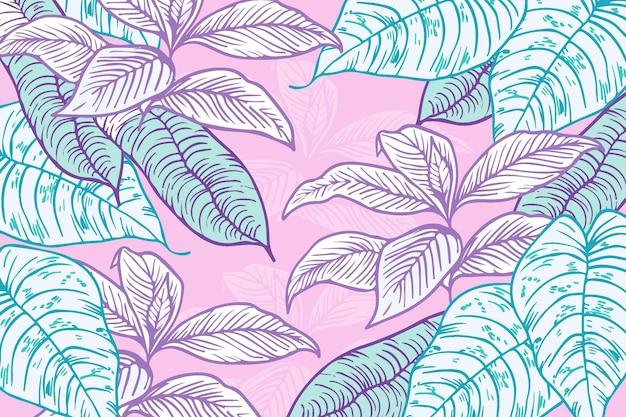 Hojas tropicales lineales con fondo de color pastel vector gratuito