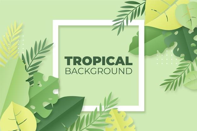 Hojas tropicales en papel estilo fondo Vector Premium