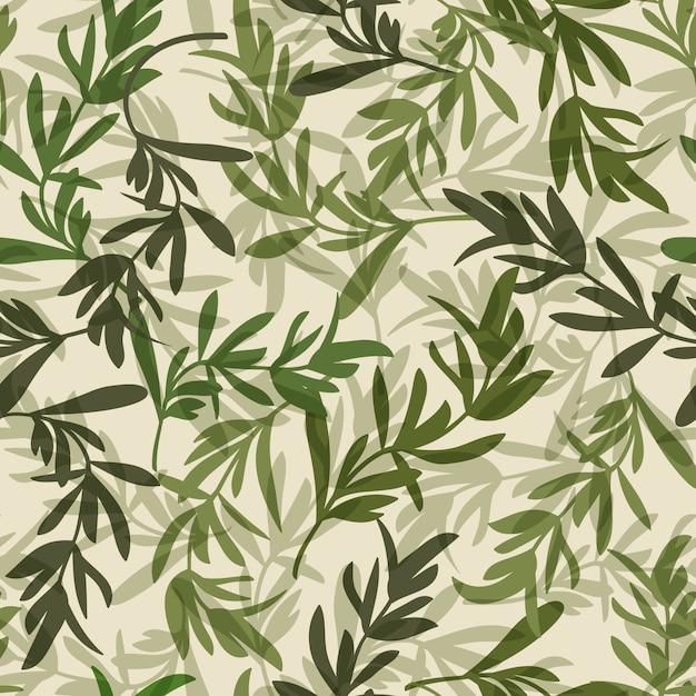 Hojas verdes vintage de patrones sin fisuras vector gratuito
