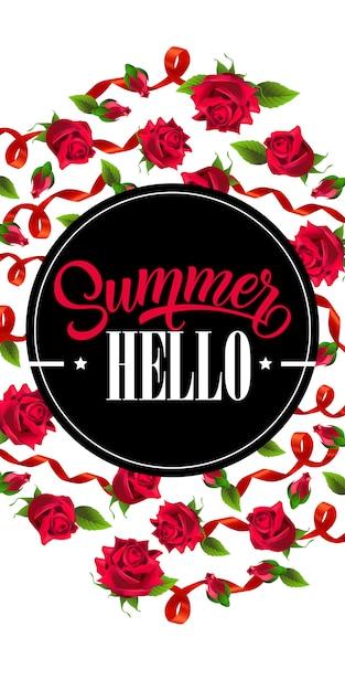 Hola bandera vertical de verano con cintas rojas y rosas. vector gratuito