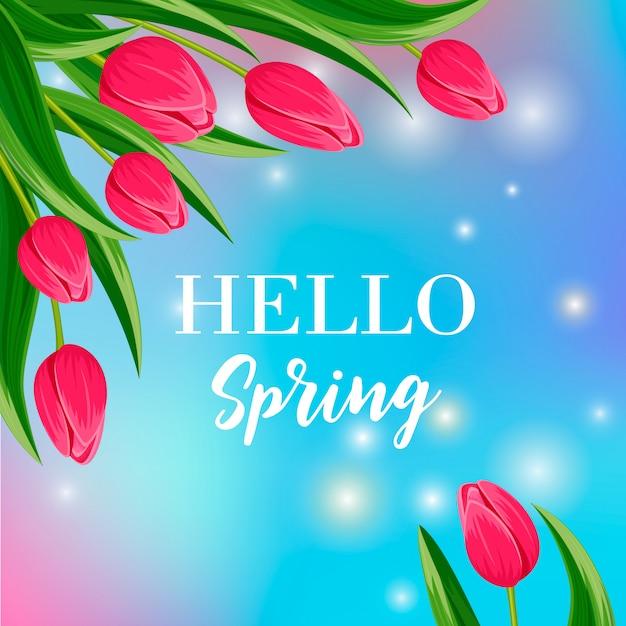 Hola banner de primavera con tulipán floreciente Vector Premium