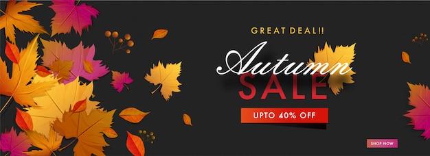 Hola banner de venta de otoño. Vector Premium