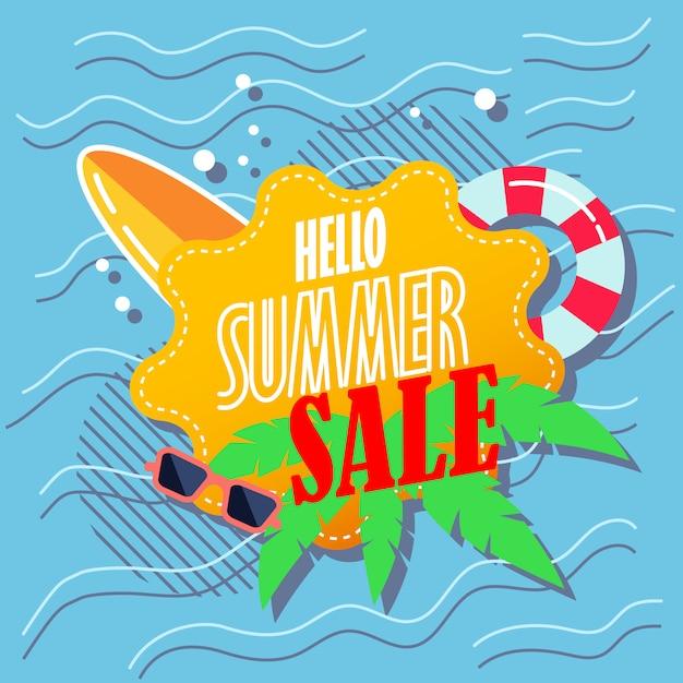 Hola banner de venta de verano Vector Premium