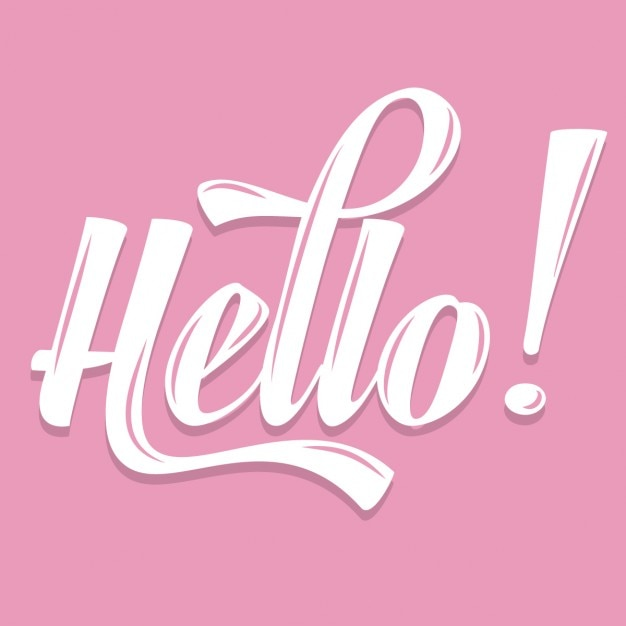Hola caligráfico rosa vector gratuito