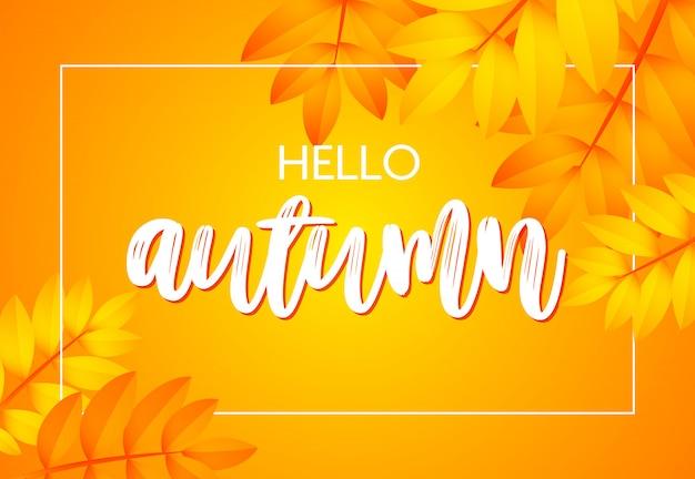 Hola cartel de otoño con amarillo vector gratuito