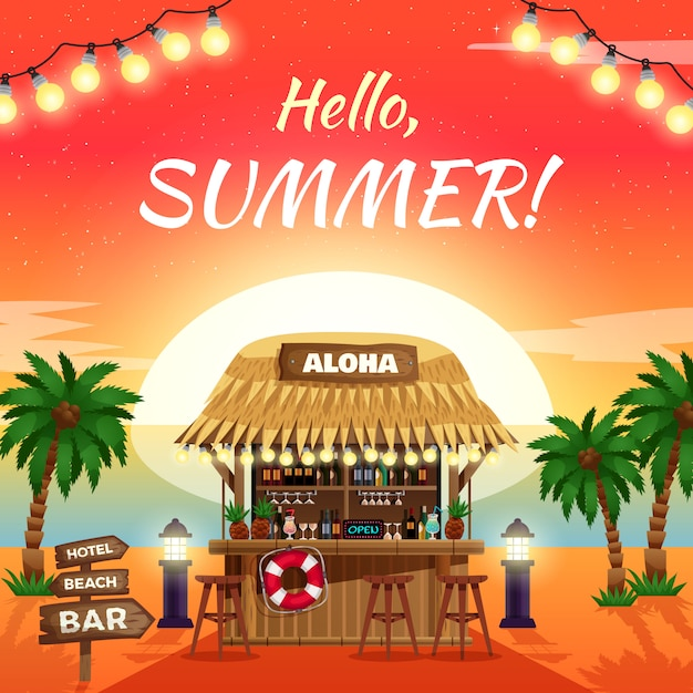 Hola cartel tropical brillante de verano vector gratuito